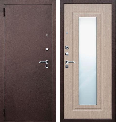 металлические двери беленый дуб с зеркалом