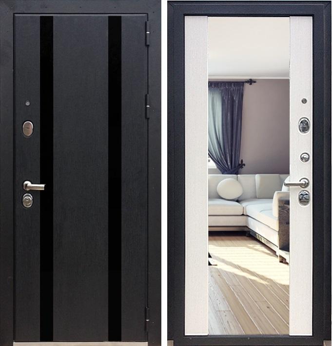 двери входные металлические с зеркалом черно белая